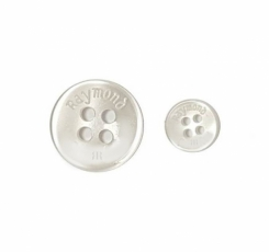 16 L Raymond Shirt Button White with Double R logo